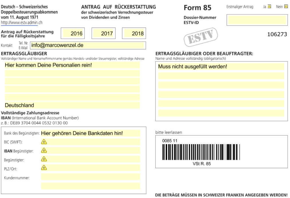 Quellensteuer zurückholen Schweiz Formular 85 Seite 1 unten