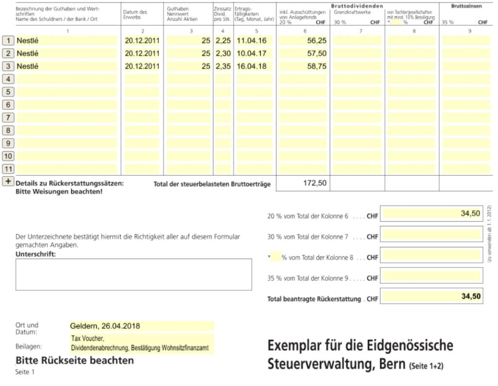 Quellensteuer zurückholen Schweiz, Formular 85, Seite 1 unten