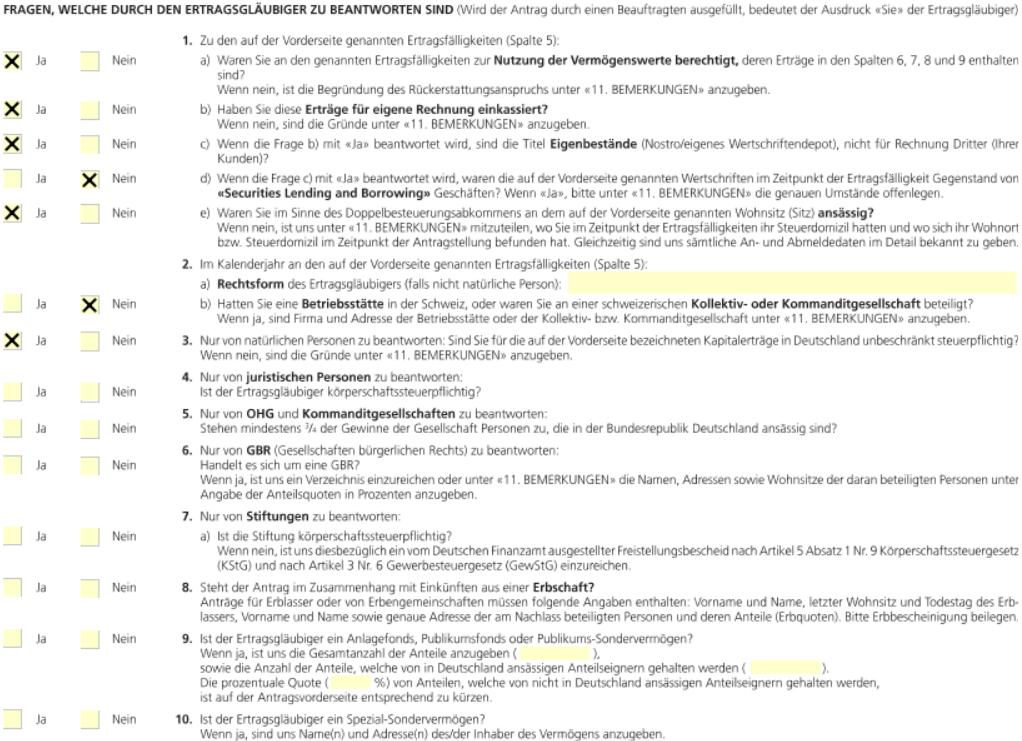 Quellensteuer zurückholen Schweiz, Formular 85, Seite 2